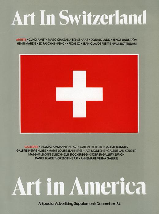 """Revue """" Art in America """", numéro 11, décembre 1984, Exposition Galerie Marie-Louise Jeanneret, Art moderne, Genève"""